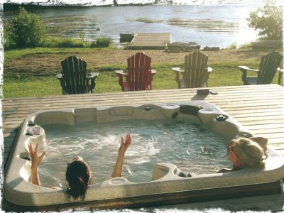 The best gossip... er giggles are shared in the hot tub (open all year round)
